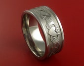 Titanium Celtic Irish Claddagh Ring Hands Clasping a Heart Band Carved Any Size Ring 4 to 20