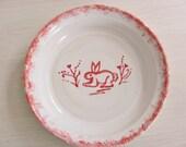 Pottery Pie Plate Stoneware Handmade Ceramic Baking Dish Red and White Dish