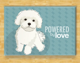 Maltese Fridge Magnet - Powered by Love - Funny Maltese Refrigerator Magnet Gift