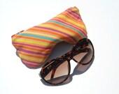 Orange Stripe Eye Glasses Case. Eyeglass Case. Eyeglass Pouch. Reading Glasses Case Curves Eyeglasses Pouch