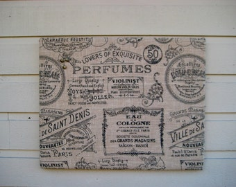 Printed Burlap Pin Bulletin Board for your French country styled office or Rustic Wedding, choose between perfume labels or butterflies