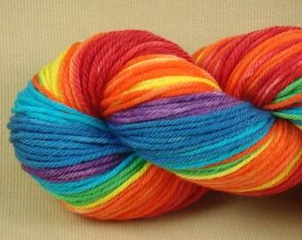 Hand Dyed Yarn - Chasing Rainbows - Worsted Weight Yarn - 100% Superwash Merino Wool - Color Block Yarn