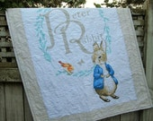 REDUCED Peter Rabbit Baby Quilt, Beatrix Potter Quilt, Peter Rabbit Crib Skirt, Peter Rabbit Bedding Set, Beatrix Potter Gender Neutral