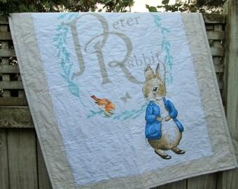 REDUCED Peter Rabbit Baby Quilt, Beatrix Potter Quilt, Peter Rabbit Crib Skirt, Peter Rabbit Bedding Set, Beatrix Potter Gender Neutral