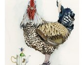 Print Giclee print Chicken with Teapot 8x11