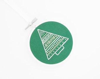 "CLEARANCE SALE: 50% Off Green and White Christmas Tree Embroidery Hoop Ornament - Handmade Gift for Christmas in 3"" Embroidery Hoop"