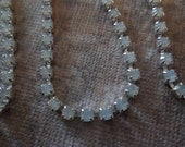 3mm White Opal Rhinestone Chain - Silver Plated Setting - Czech Crystals