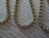 Rhinestone Chain Clear Czech Crystal 2mm 14PP 6ss in Brass Setting - Qty 36 inch strand