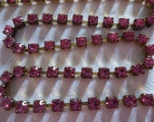3mm Pink Rhinestone Chain - Brass Setting - Rose Pink Preciosa Czech Crystals