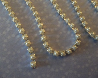 Pearl Cup Chain  White Glass Czech Pearls 2mm Cup Chain in Silver Plated Brass Setting - Qty 18 inch strand