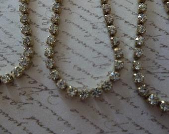 2mm Clear Rhinestone Chain - Brass Setting - Crystal Clear Preciosa Czech Crystals