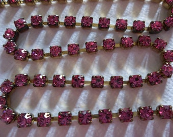 3mm Pink Rhinestone Chain - Brass Setting - Rose Pink Preciosa Czech Crystals
