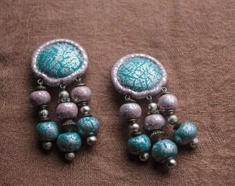 Vintage 80's Earrings silver crystal pink turquoise punk Festival Earrings Coachella
