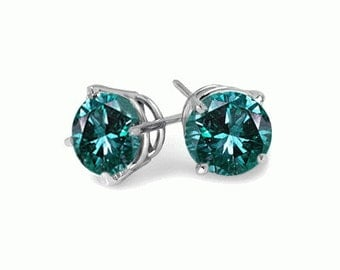 blue diamond sterling silver stud earrings