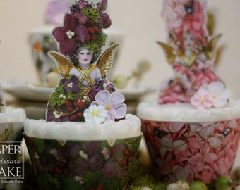 Flower Garden Fairies Printable Cupcake Topper And Wrapper Set- Simply Print, Cut, Assemble, Enjoy