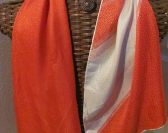 """ECHO // Lovely Red White Soft Silk Scarf // 15"""" x 46"""" Long"""