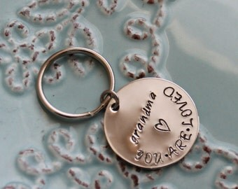 Personalized Keyring-Sterling Silver Key Chain-Gift for Grandma-Personalized Keychain