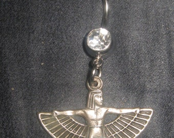 Antique Silver Tone Egyptian Winged Isis Double Jewel 14 gauge CZ Belly Ring