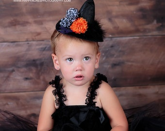 BABY WITCH COSTUME, tutu and mini witch hat, halloween costume size newborn-24 months