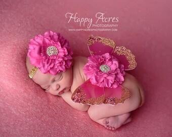 Pink Newborn Butterfly Wings and headband, newborn photography prop, Baby Girl Prop, Baby Headband