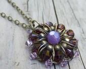 Collier violet foncé - fil Crochet collier - violet collier en cristal de Swarovski - Ombre pourpre bijoux - bijoux rustique Purple - demoiselle d'honneur