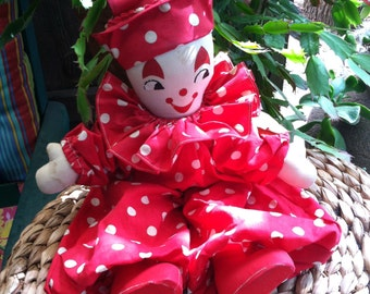 Vintage 50s Handmade Clown Doll with Red and White Polkadot Costume