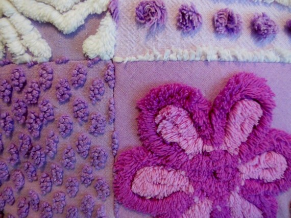 LAVENDER .. Adorable Chenille Pillow .. Purple Pillow .. Vintage Fabric .. Flowers