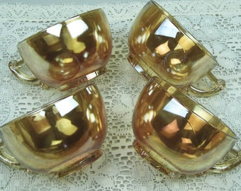 Set of Four Coffee Cups Fire King Peach Lusterware Jeanette Pattern Vintage 50s