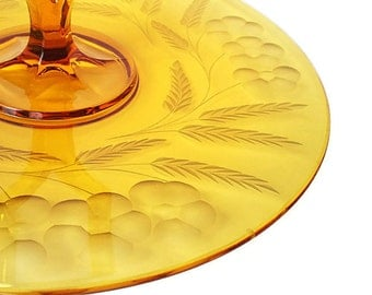 Amber Glass Serving Plate Dessert Tray Retro Tidbit Tray Center Handle Server