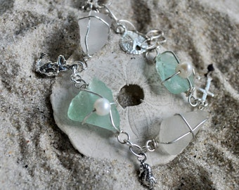 Seaglass Charm Bracelet: White and Aqua Blue Seaglass with NauticalCharms - Cyber Monday Sale
