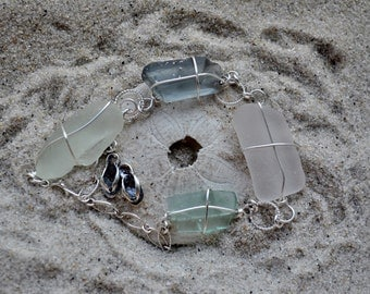 Adjustable Seaglass Bracelet- Sterling Silver with White, Gray and Seafoam Seaglass, Flip Flop Charm