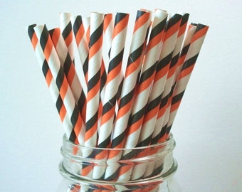 50 Halloween Black Orange 2 Tone Stripe Paper Straws Wedding Birthday Baby Shower Party / Cake Pop