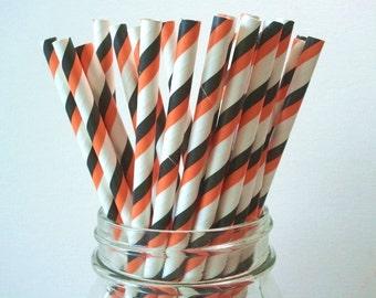LOW DISCOUNT PRICE 25 Black Orange Stripe Paper Straws Halloween Wedding Birthday Baby Shower Party / Cake Pop