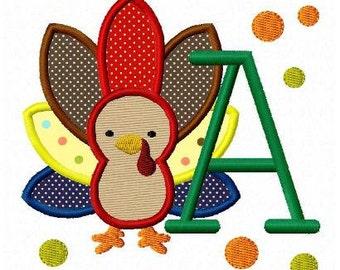 Thanksgiving turkey font applique letters machine embroidery design