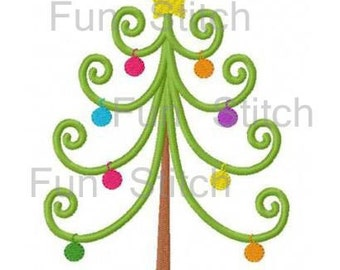 Curly Christmas tree with ornaments machine embroidery design