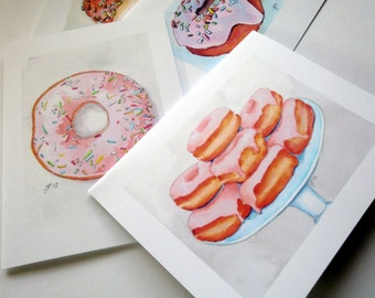 Donut Stationery Set - Donut Cards Watercolor Art Blank Notecards - Cute Food Art Cards - Set of 12 Cards
