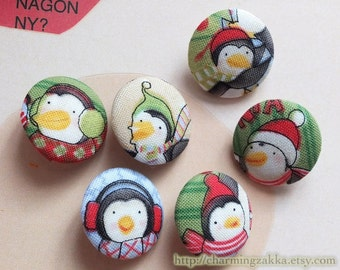 Fabric Covered Buttons (M) - Cute Christmas Penguin Family (6Pcs, 0.87 Inch)