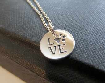 Dog Paw necklace, puppy love with dog pawprint charm, sterling silver disc, gift for pet lover