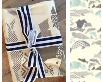 Organic jersey baby blanket in aqua, grey and cream geometric whale print