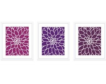 Dahlia Flower No.2  Digital Print Set - Art Wall - Modern Home Decor - Violet Purple Ombre  - Spring Summer AutumnColors