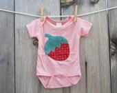 Strawberry Stitch Baby Onesie in Pink- Size XS
