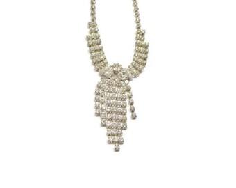 Vintage Rhinestone Necklace with Dangle Pendant