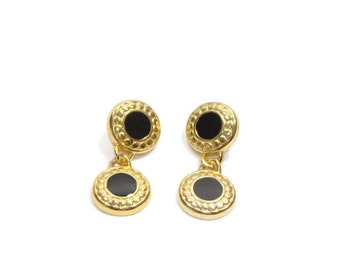 Vintage Gold and Black Double Circle Dangle Earrings