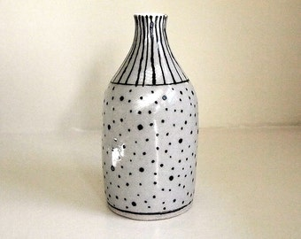 Lined and Dotted Black and White Ceramic Bottle