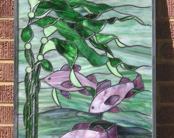 "Three Violet Fish-  18"" x 30"" Stained Glass Window Panel-"
