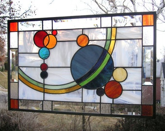 "Galaxy 2 -- 21  1/2"" x  13  5/8""-- Stained Glass Window Panel"
