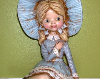 "Ceramic 8"" Girl Figurine-Blue Hat & Outfit - Vtg. Copyright B.  MAR"
