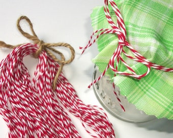 24 red & white Baker's Twine Christmas ribbon for mason canning jars, shower favor jars, Christmas gift jars, precut twine pieces