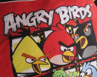 Angry Birds with Black Handmade Fleece Blanket - Ready to Ship Now