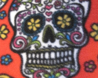 Sugar Skulls on Red with Aqua Blanket - Ready to Ship Now